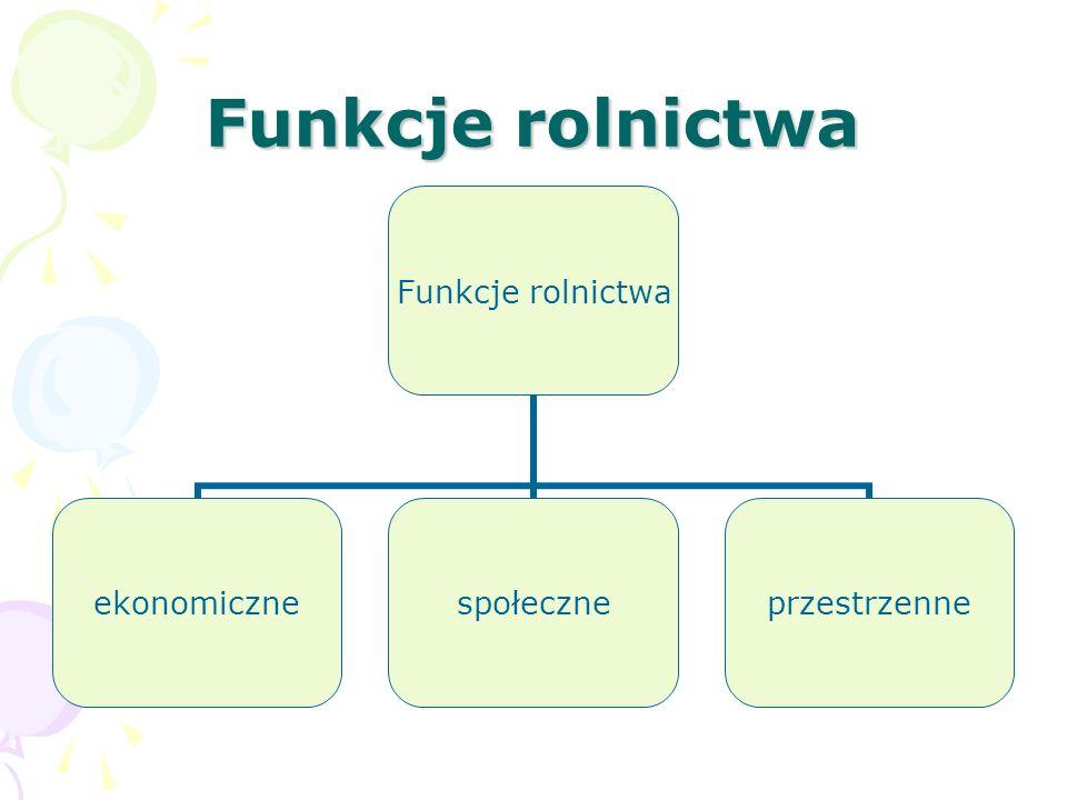 Funkcje rolnictwa ekonomicznespołeczneprzestrzenne