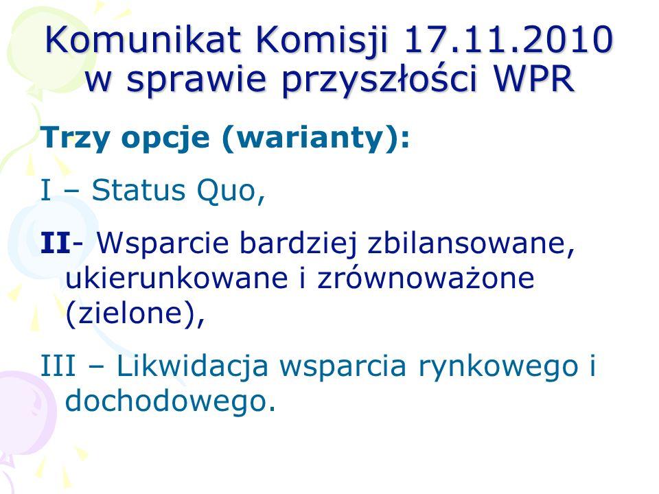 Komunikat Komisji 17.11.2010 w sprawie przyszłości WPR Trzy opcje (warianty): I – Status Quo, II- Wsparcie bardziej zbilansowane, ukierunkowane i zrów