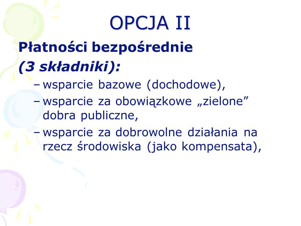 OPCJA II Płatności bezpośrednie (3 składniki): –wsparcie bazowe (dochodowe), –wsparcie za obowiązkowe zielone dobra publiczne, –wsparcie za dobrowolne