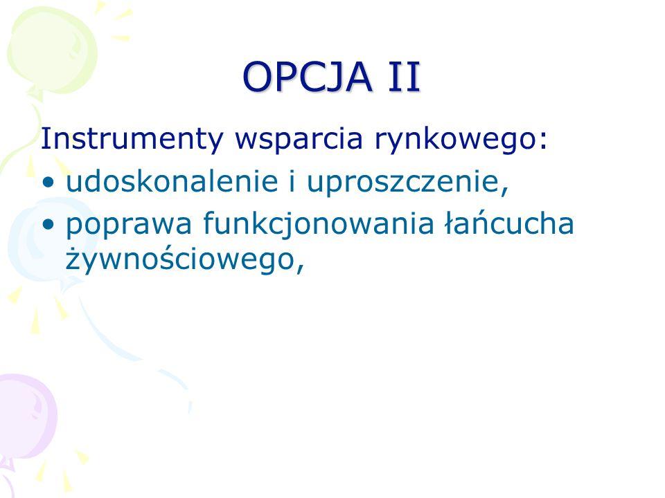 OPCJA II Instrumenty wsparcia rynkowego: udoskonalenie i uproszczenie, poprawa funkcjonowania łańcucha żywnościowego,