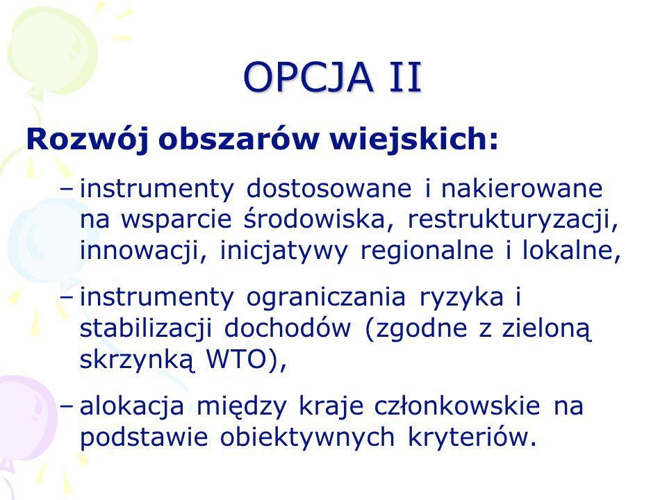 OPCJA II Rozwój obszarów wiejskich: –instrumenty dostosowane i nakierowane na wsparcie środowiska, restrukturyzacji, innowacji, inicjatywy regionalne
