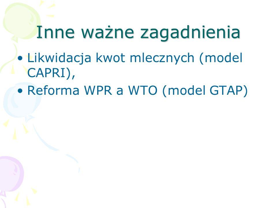 Inne ważne zagadnienia Likwidacja kwot mlecznych (model CAPRI), Reforma WPR a WTO (model GTAP)