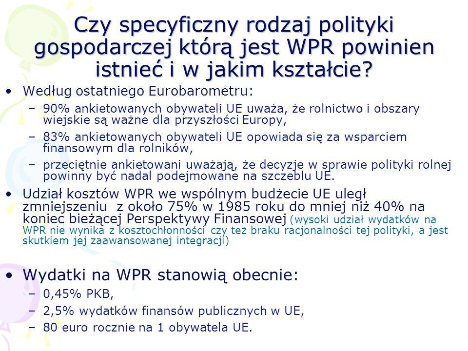 Czy specyficzny rodzaj polityki gospodarczej którą jest WPR powinien istnieć i w jakim kształcie? Według ostatniego Eurobarometru: –90% ankietowanych