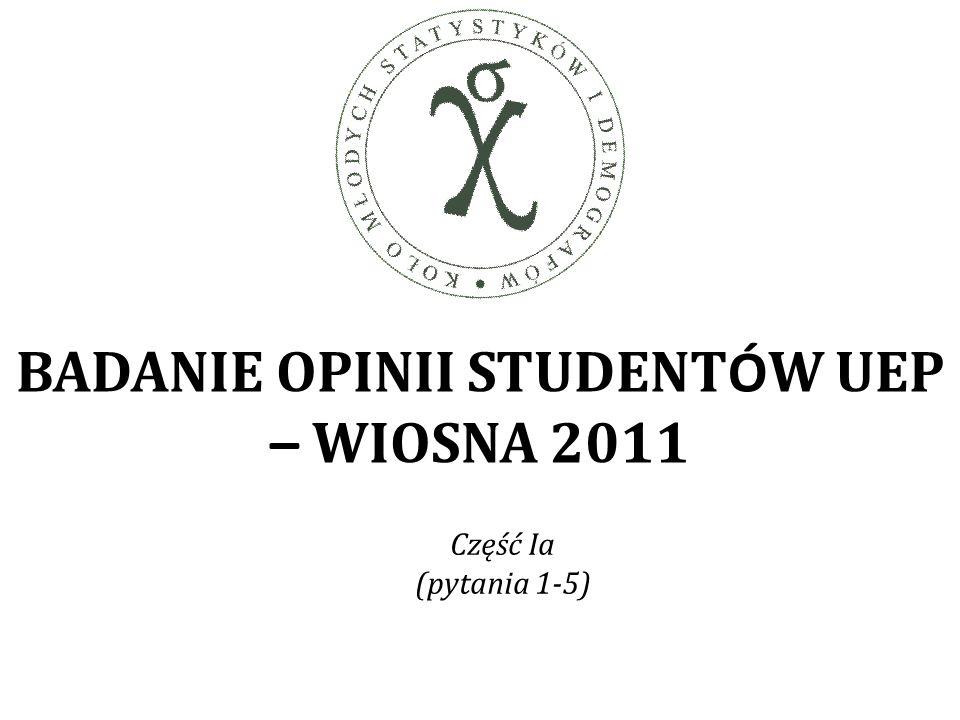 BADANIE OPINII STUDENT Ó W UEP – WIOSNA 2011 Część Ia (pytania 1-5)