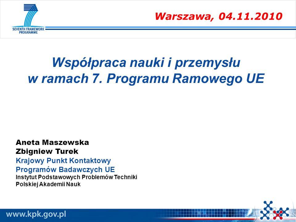 Aneta Maszewska Zbigniew Turek Krajowy Punkt Kontaktowy Programów Badawczych UE Instytut Podstawowych Problemów Techniki Polskiej Akademii Nauk Współp