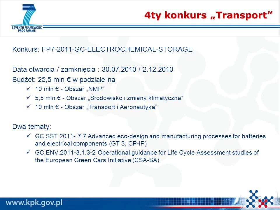 4ty konkurs Transport Konkurs: FP7-2011-GC-ELECTROCHEMICAL-STORAGE Data otwarcia / zamknięcia : 30.07.2010 / 2.12.2010 Budżet: 25,5 mln w podziale na