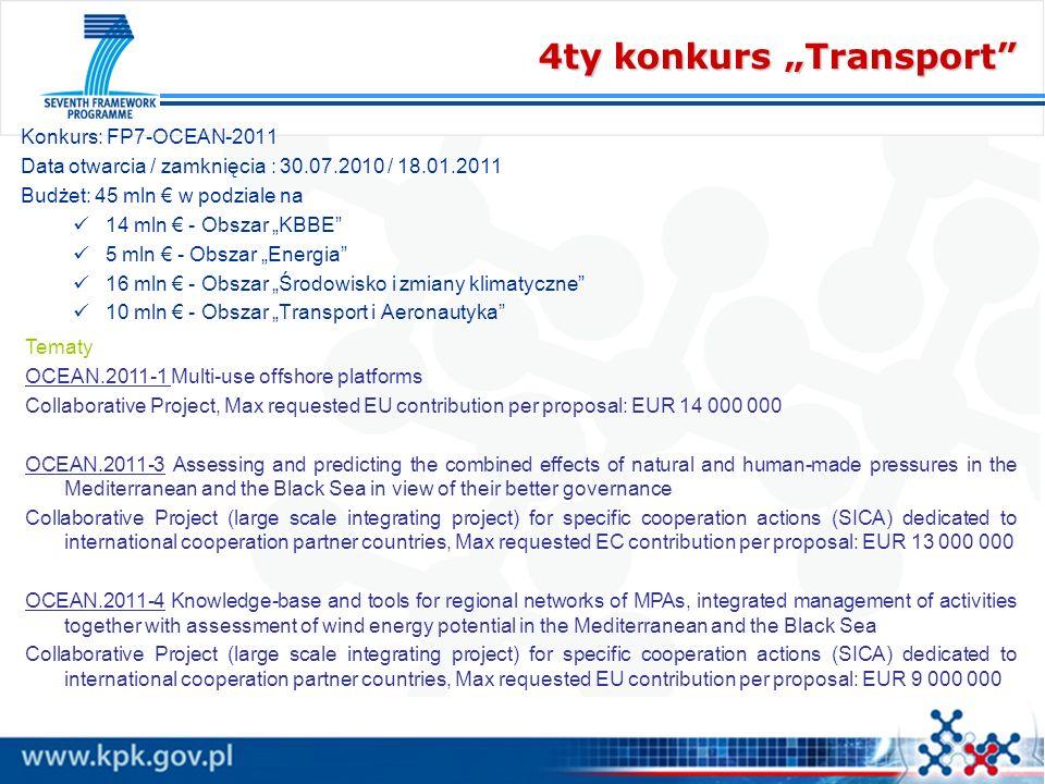 4ty konkurs Transport Konkurs: FP7-OCEAN-2011 Data otwarcia / zamknięcia : 30.07.2010 / 18.01.2011 Budżet: 45 mln w podziale na 14 mln - Obszar KBBE 5