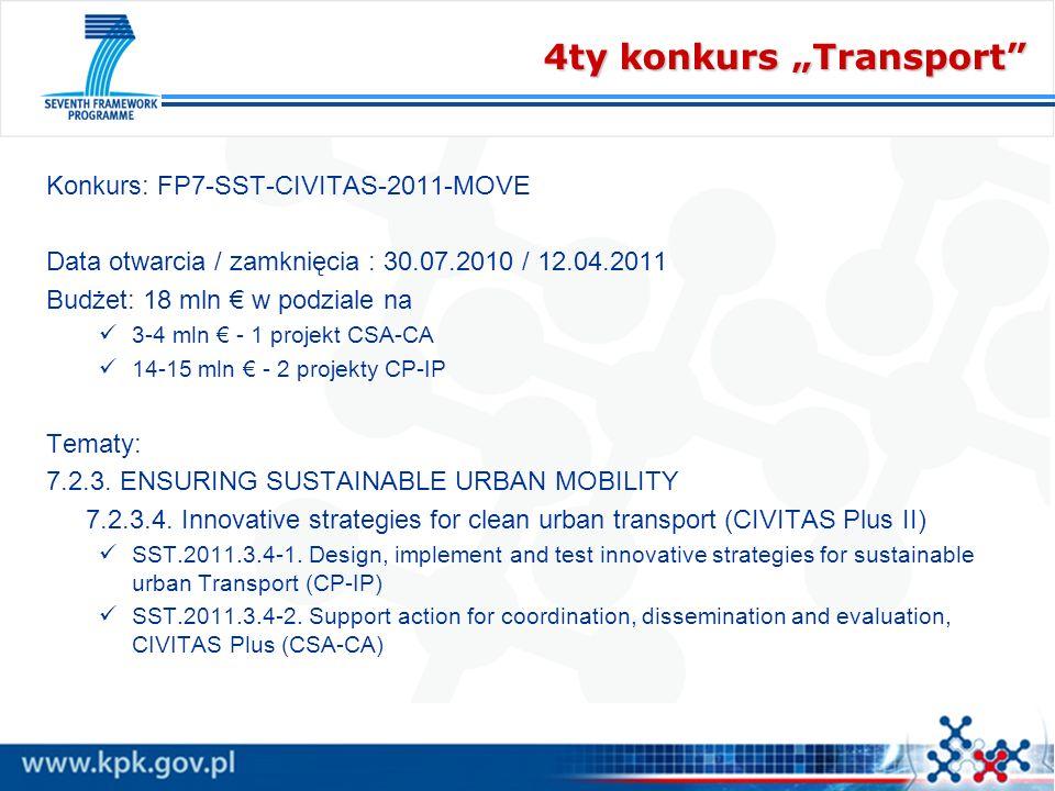 4ty konkurs Transport Konkurs: FP7-SST-CIVITAS-2011-MOVE Data otwarcia / zamknięcia : 30.07.2010 / 12.04.2011 Budżet: 18 mln w podziale na 3-4 mln - 1
