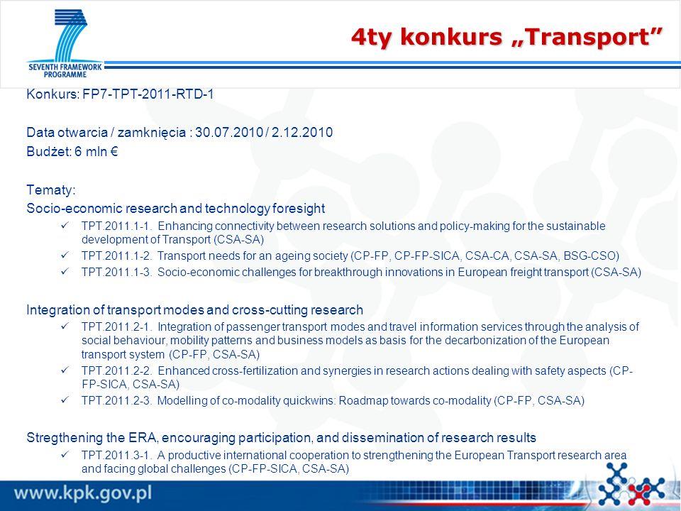 4ty konkurs Transport Konkurs: FP7-TPT-2011-RTD-1 Data otwarcia / zamknięcia : 30.07.2010 / 2.12.2010 Budżet: 6 mln Tematy: Socio-economic research an