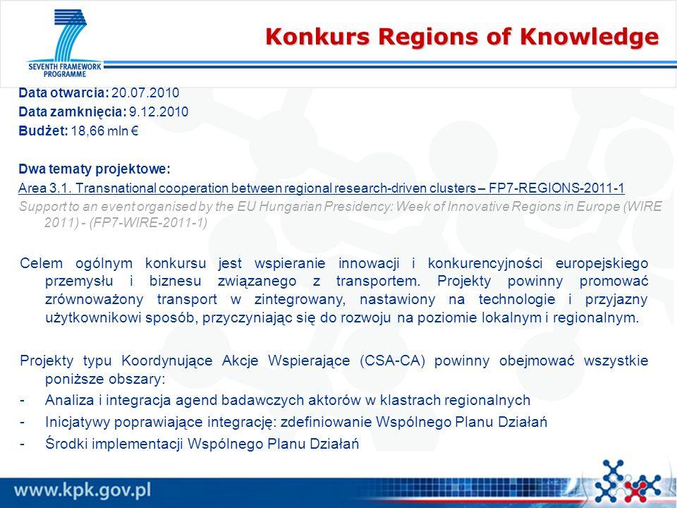Konkurs Regions of Knowledge Data otwarcia: 20.07.2010 Data zamknięcia: 9.12.2010 Budżet: 18,66 mln Dwa tematy projektowe: Area 3.1. Transnational coo