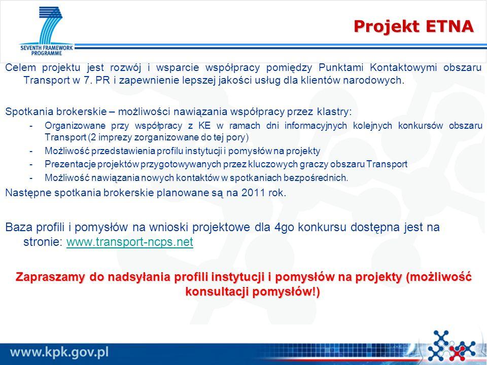 Projekt ETNA Celem projektu jest rozwój i wsparcie współpracy pomiędzy Punktami Kontaktowymi obszaru Transport w 7. PR i zapewnienie lepszej jakości u