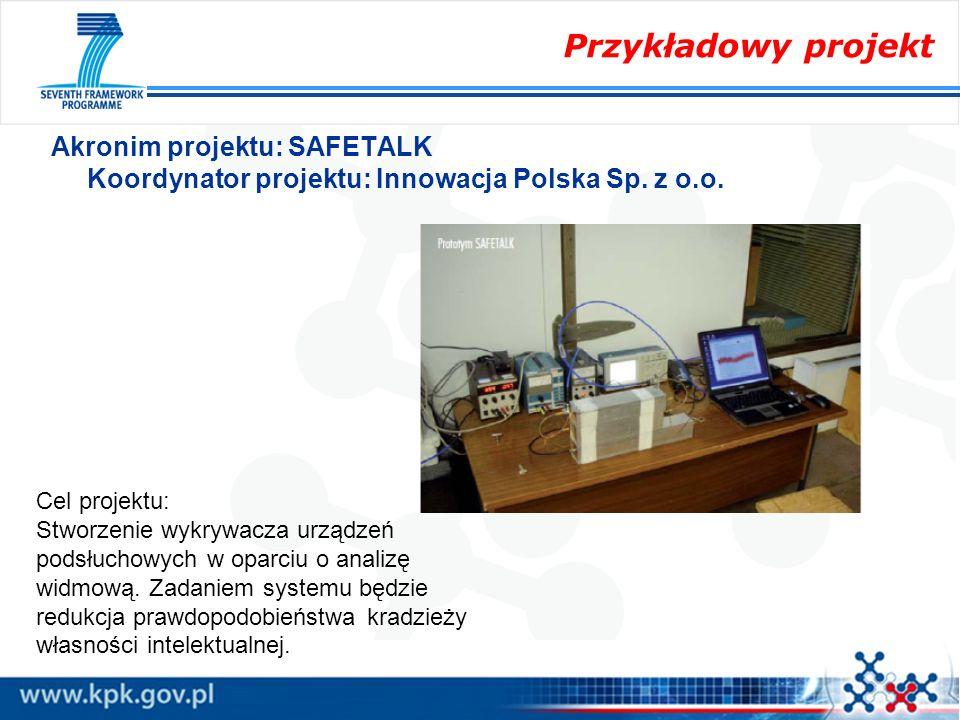 Przykładowy projekt Akronim projektu: SAFETALK Koordynator projektu: Innowacja Polska Sp. z o.o. Cel projektu: Stworzenie wykrywacza urządzeń podsłuch