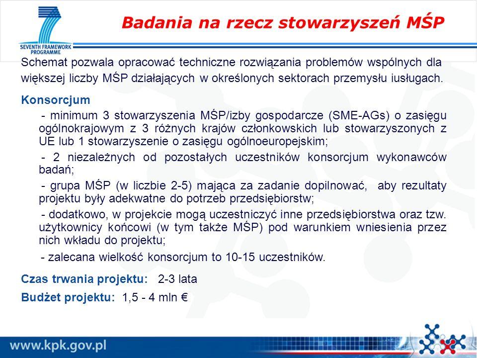 Schemat pozwala opracować techniczne rozwiązania problemów wspólnych dla większej liczby MŚP działających w określonych sektorach przemysłu iusługach.