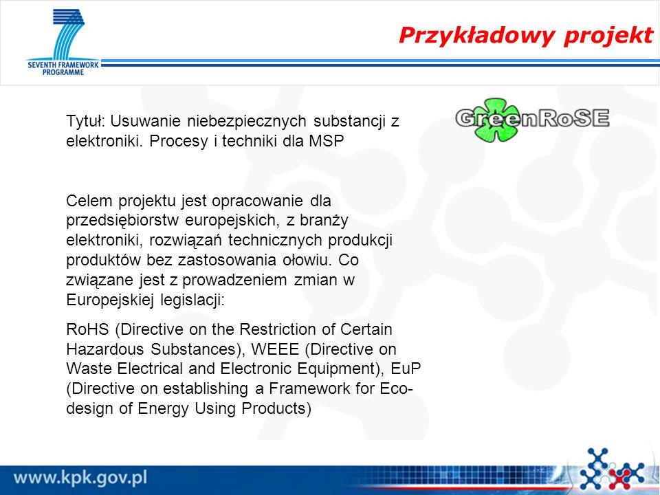 Przykładowy projekt Tytuł: Usuwanie niebezpiecznych substancji z elektroniki. Procesy i techniki dla MSP Celem projektu jest opracowanie dla przedsięb