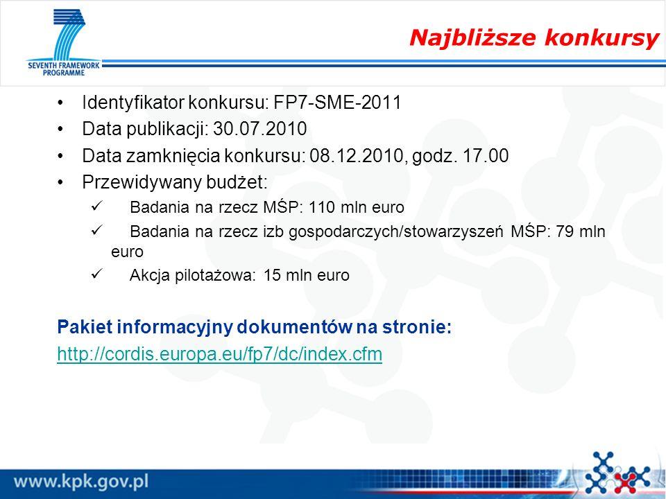 Najbliższe konkursy Identyfikator konkursu: FP7-SME-2011 Data publikacji: 30.07.2010 Data zamknięcia konkursu: 08.12.2010, godz. 17.00 Przewidywany bu