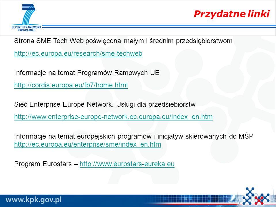 Przydatne linki Strona SME Tech Web poświęcona małym i średnim przedsiębiorstwom http://ec.europa.eu/research/sme-techweb Informacje na temat Programó