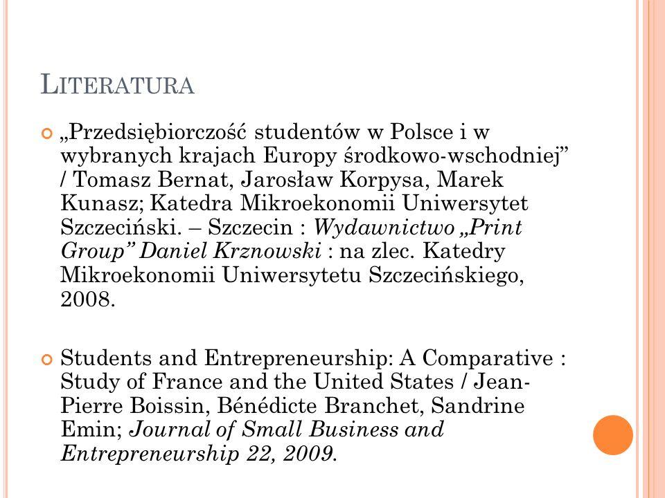 L ITERATURA Przedsiębiorczość studentów w Polsce i w wybranych krajach Europy środkowo-wschodniej / Tomasz Bernat, Jarosław Korpysa, Marek Kunasz; Kat