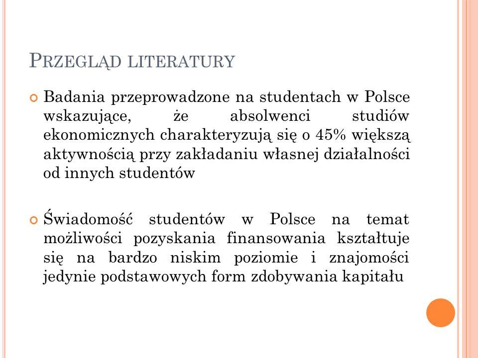 P RZEGLĄD LITERATURY Badania przeprowadzone na studentach w Polsce wskazujące, że absolwenci studiów ekonomicznych charakteryzują się o 45% większą ak
