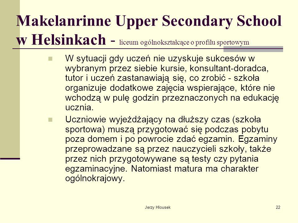 Jerzy Hlousek22 Makelanrinne Upper Secondary School w Helsinkach - liceum ogólnokształcące o profilu sportowym W sytuacji gdy uczeń nie uzyskuje sukce