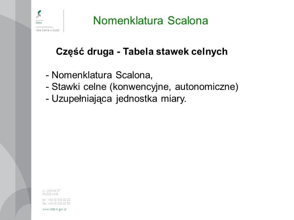 Nomenklatura Scalona Izba Celna w Łodzi ul. Lodowa 97 93-232 Łódź tel.: +48 42 638 82 22 fax :+48 42 638 83 50 www.lodz.ic.gov.pl Część druga - Tabela