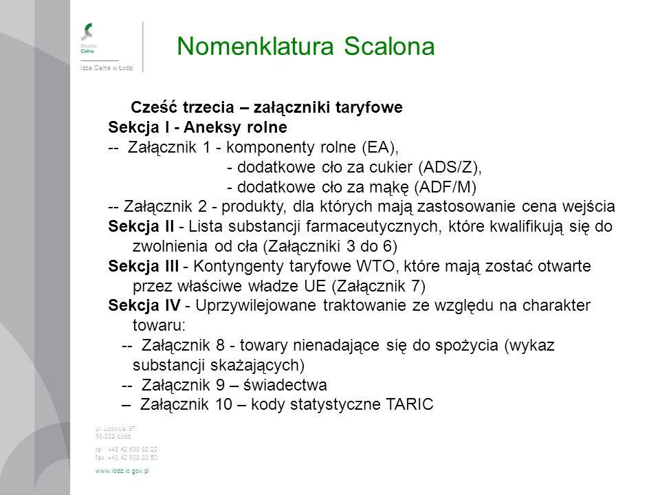 Nomenklatura Scalona Izba Celna w Łodzi ul. Lodowa 97 93-232 Łódź tel.: +48 42 638 82 22 fax :+48 42 638 83 50 www.lodz.ic.gov.pl Cześć trzecia – załą