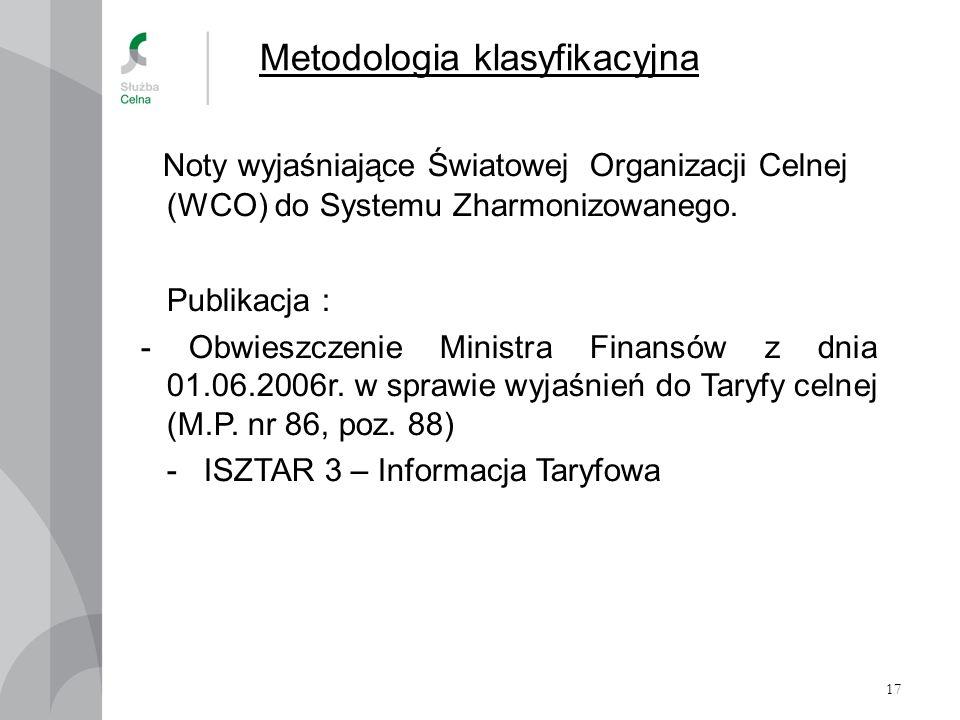 17 Metodologia klasyfikacyjna Noty wyjaśniające Światowej Organizacji Celnej (WCO) do Systemu Zharmonizowanego. Publikacja : - Obwieszczenie Ministra