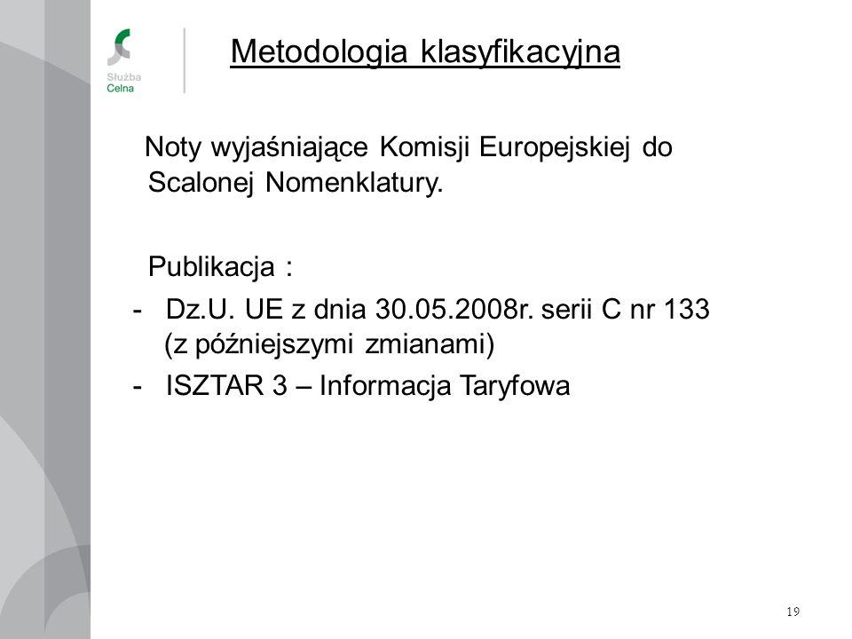 19 Metodologia klasyfikacyjna Noty wyjaśniające Komisji Europejskiej do Scalonej Nomenklatury. Publikacja : - Dz.U. UE z dnia 30.05.2008r. serii C nr