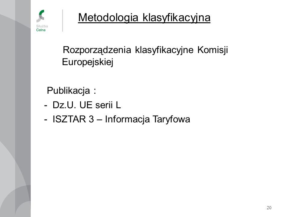 20 Metodologia klasyfikacyjna Rozporządzenia klasyfikacyjne Komisji Europejskiej Publikacja : - Dz.U. UE serii L - ISZTAR 3 – Informacja Taryfowa