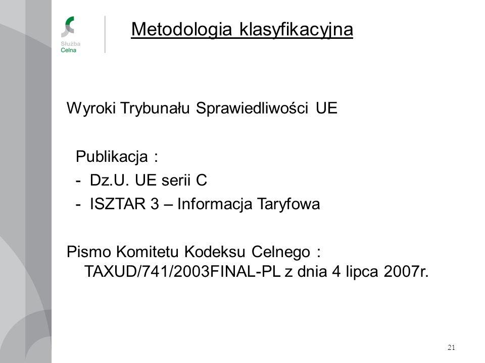 21 Metodologia klasyfikacyjna Wyroki Trybunału Sprawiedliwości UE Publikacja : - Dz.U. UE serii C - ISZTAR 3 – Informacja Taryfowa Pismo Komitetu Kode