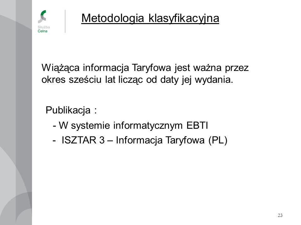 23 Metodologia klasyfikacyjna Wiążąca informacja Taryfowa jest ważna przez okres sześciu lat licząc od daty jej wydania. Publikacja : - W systemie inf