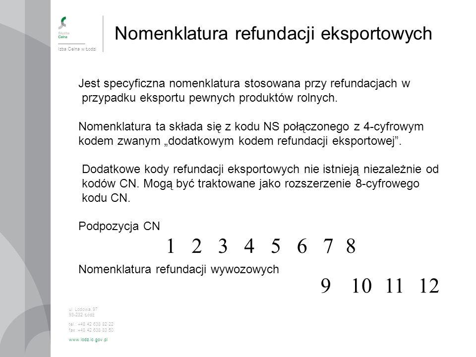 Nomenklatura refundacji eksportowych Izba Celna w Łodzi ul. Lodowa 97 93-232 Łódź tel.: +48 42 638 82 22 fax :+48 42 638 83 50 www.lodz.ic.gov.pl Jest