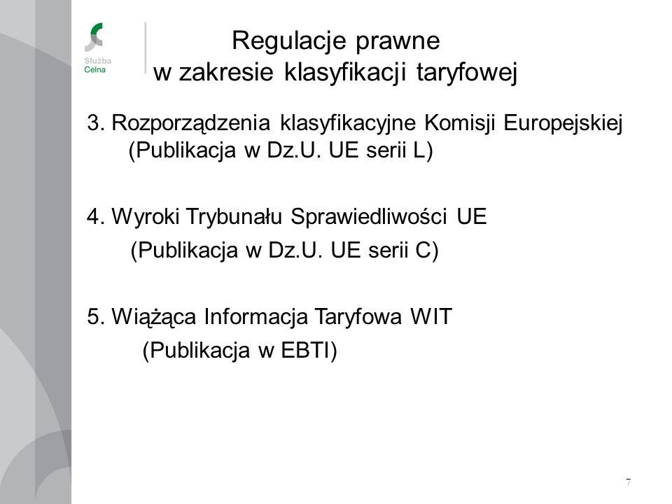 7 Regulacje prawne w zakresie klasyfikacji taryfowej 3. Rozporządzenia klasyfikacyjne Komisji Europejskiej (Publikacja w Dz.U. UE serii L) 4. Wyroki T