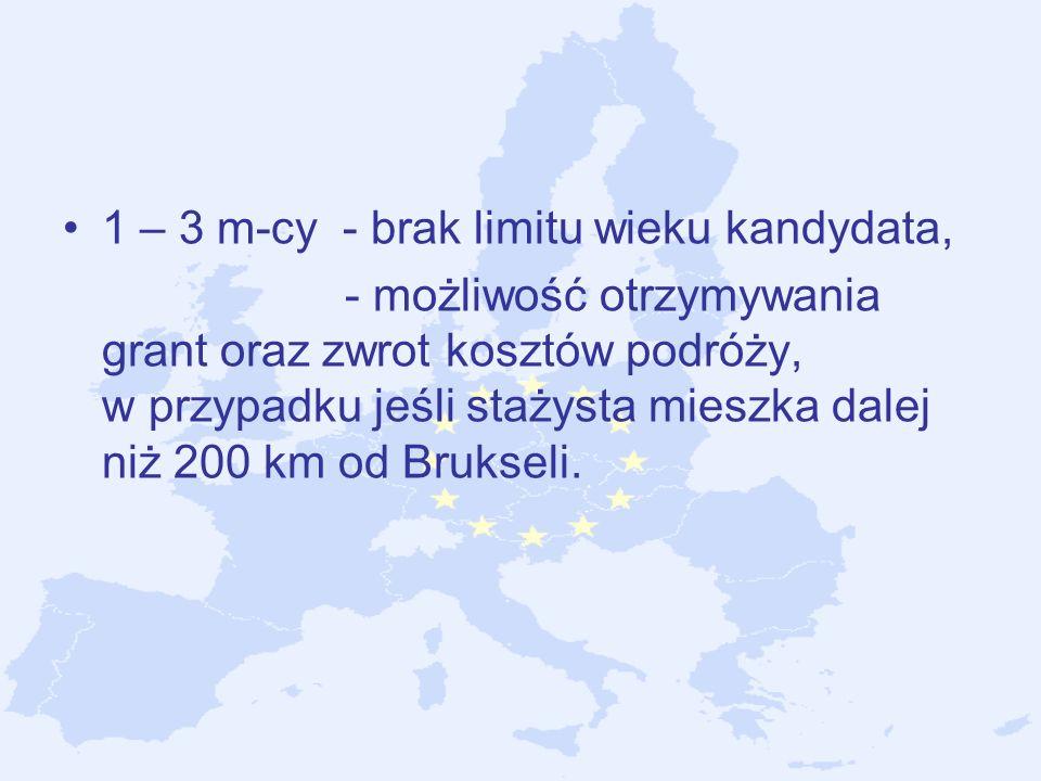 1 – 3 m-cy - brak limitu wieku kandydata, - możliwość otrzymywania grant oraz zwrot kosztów podróży, w przypadku jeśli stażysta mieszka dalej niż 200