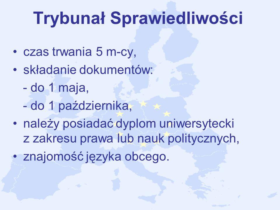 Trybunał Sprawiedliwości czas trwania 5 m-cy, składanie dokumentów: - do 1 maja, - do 1 października, należy posiadać dyplom uniwersytecki z zakresu p