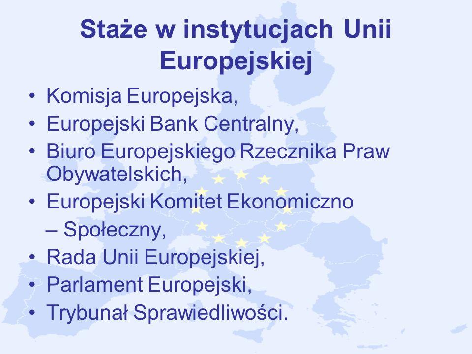 Staże w instytucjach Unii Europejskiej Komisja Europejska, Europejski Bank Centralny, Biuro Europejskiego Rzecznika Praw Obywatelskich, Europejski Kom