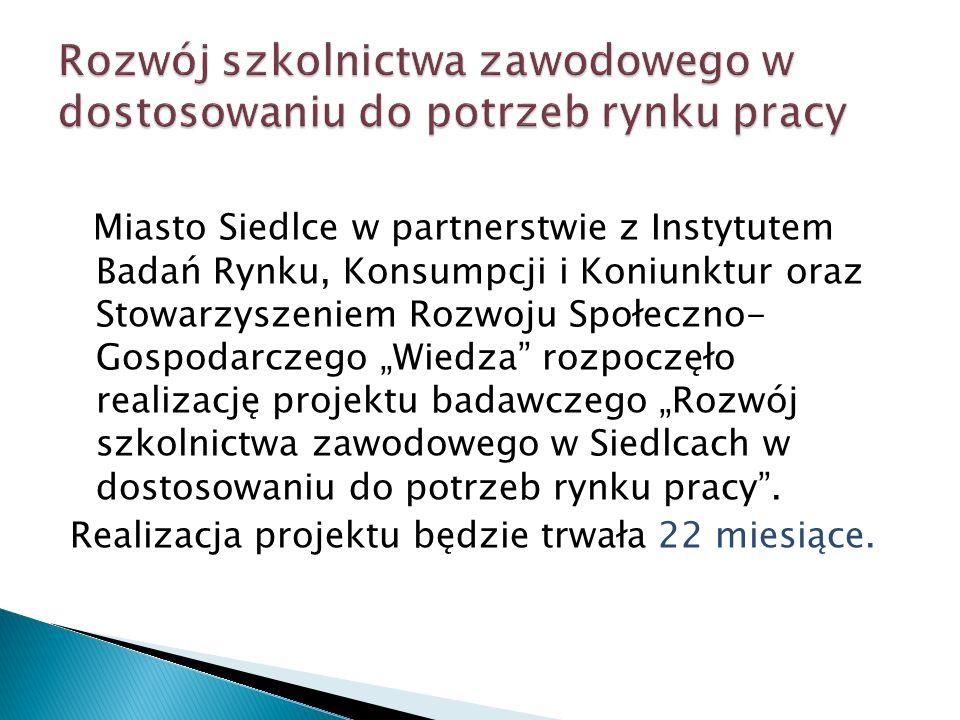 Miasto Siedlce w partnerstwie z Instytutem Badań Rynku, Konsumpcji i Koniunktur oraz Stowarzyszeniem Rozwoju Społeczno- Gospodarczego Wiedza rozpoczęł
