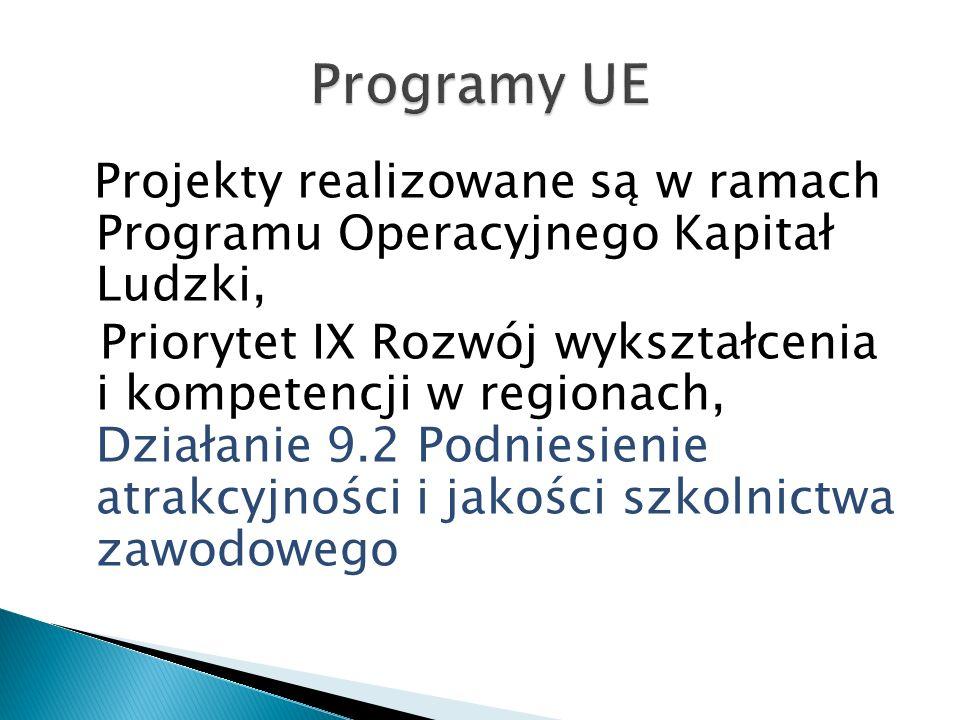 Projekty realizowane są w ramach Programu Operacyjnego Kapitał Ludzki, Priorytet IX Rozwój wykształcenia i kompetencji w regionach, Działanie 9.2 Podn