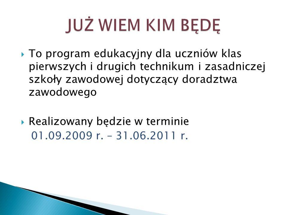 To program edukacyjny dla uczniów klas pierwszych i drugich technikum i zasadniczej szkoły zawodowej dotyczący doradztwa zawodowego Realizowany będzie