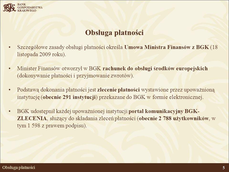 5 Obsługa płatności Szczegółowe zasady obsługi płatności określa Umowa Ministra Finansów z BGK (18 listopada 2009 roku). Minister Finansów otworzył w
