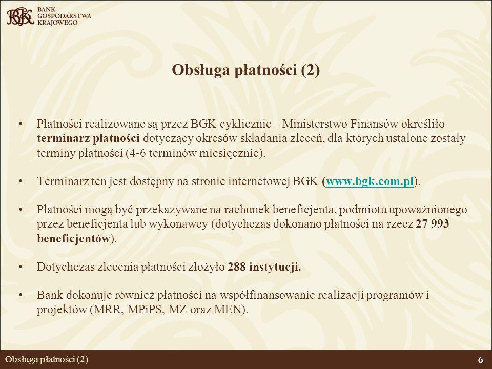 6 Obsługa płatności (2) Płatności realizowane są przez BGK cyklicznie – Ministerstwo Finansów określiło terminarz płatności dotyczący okresów składani