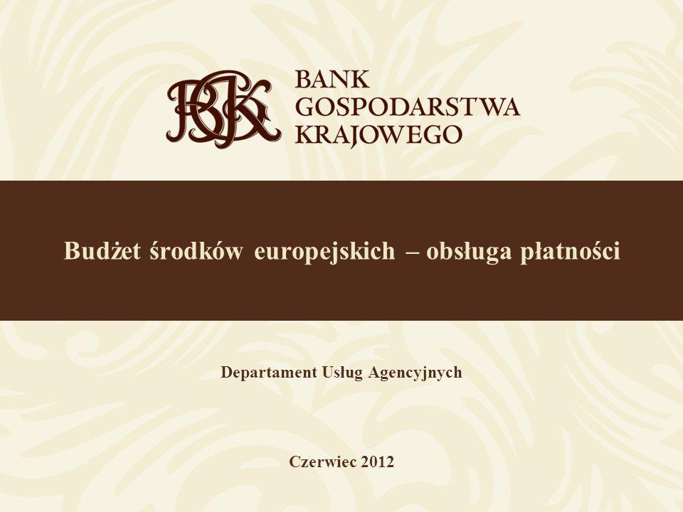 Budżet środków europejskich – obsługa płatności Departament Usług Agencyjnych Czerwiec 2012