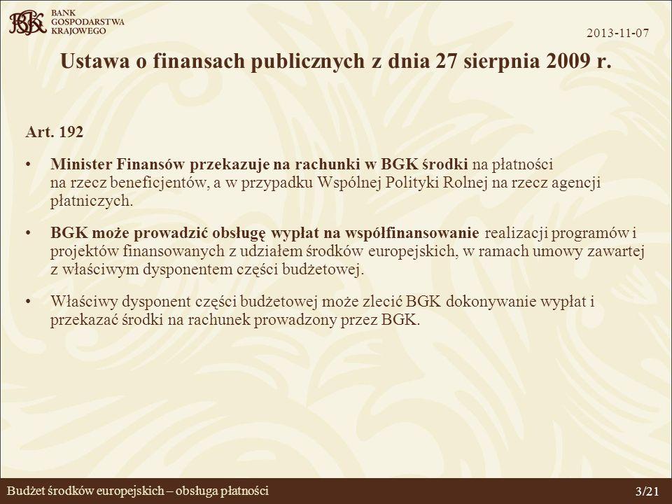 Budżet środków europejskich – obsługa płatności Ustawa o finansach publicznych z dnia 27 sierpnia 2009 r. Art. 192 Minister Finansów przekazuje na rac