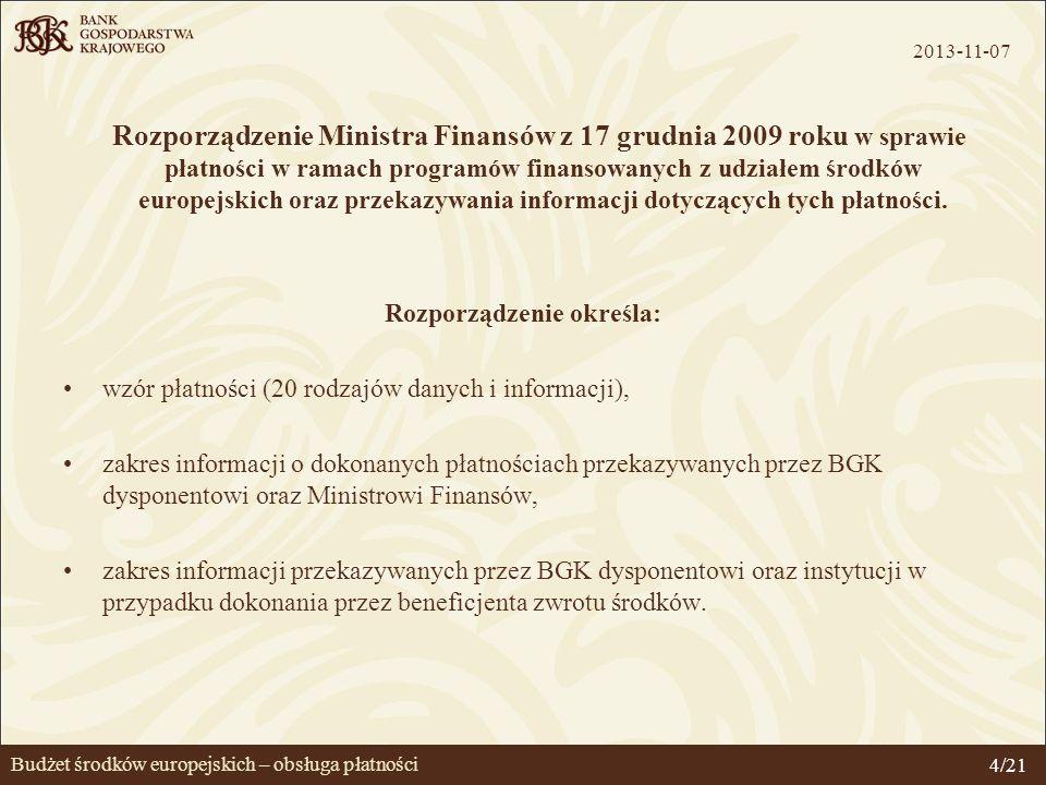 Budżet środków europejskich – obsługa płatności Obsługa płatności Szczegółowe zasady obsługi płatności określa Umowa Ministra Finansów z BGK (18 listopada 2009 roku).