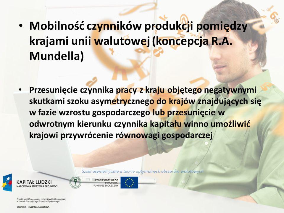 Szoki asymetryczne a teorie optymalnych obszarów walutowych Mobilność czynników produkcji pomiędzy krajami unii walutowej (koncepcja R.A. Mundella) Pr