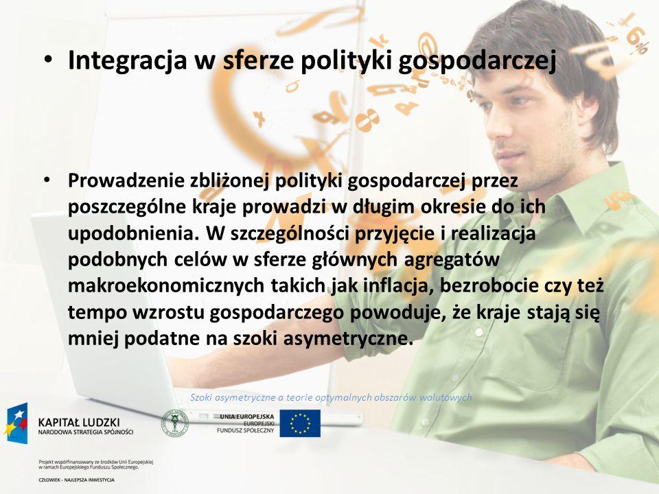 Szoki asymetryczne a teorie optymalnych obszarów walutowych Integracja w sferze polityki gospodarczej Prowadzenie zbliżonej polityki gospodarczej prze