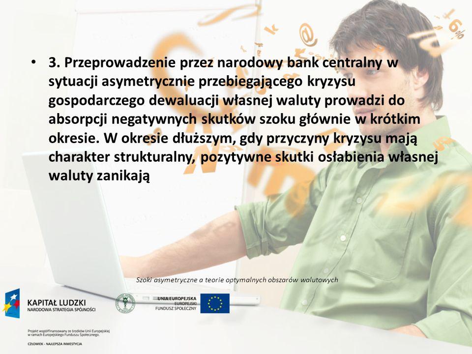 Szoki asymetryczne a teorie optymalnych obszarów walutowych 3. Przeprowadzenie przez narodowy bank centralny w sytuacji asymetrycznie przebiegającego