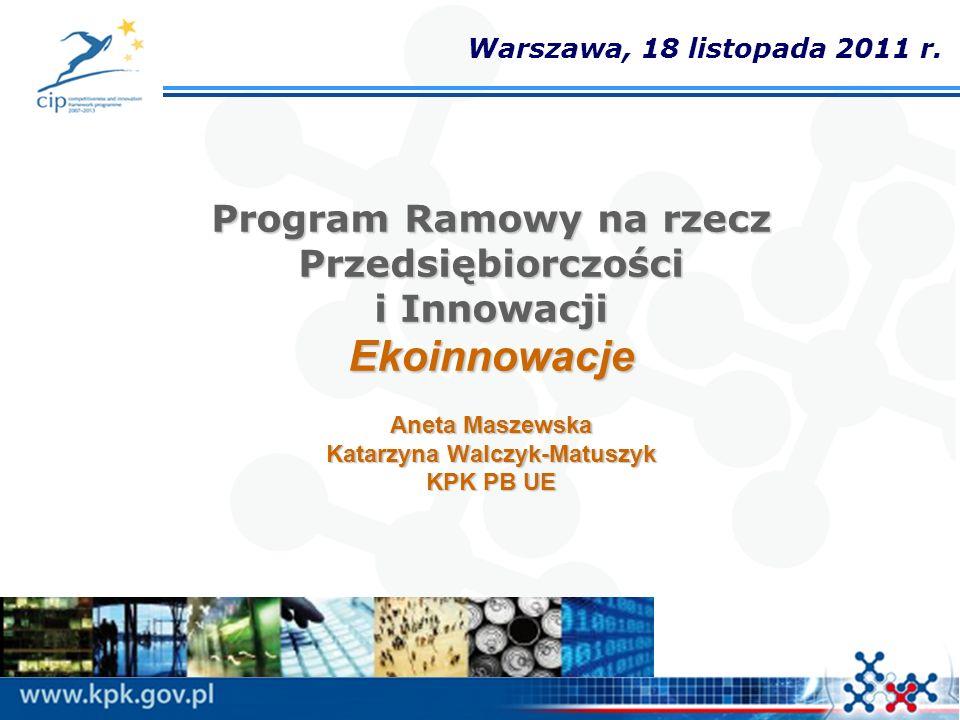 Program Ramowy na rzecz Przedsiębiorczości i Innowacji Ekoinnowacje Aneta Maszewska Katarzyna Walczyk-Matuszyk KPK PB UE Warszawa, 18 listopada 2011 r