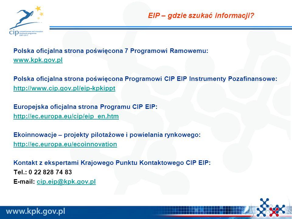EIP – gdzie szukać informacji? Polska oficjalna strona poświęcona 7 Programowi Ramowemu: www.kpk.gov.pl Polska oficjalna strona poświęcona Programowi