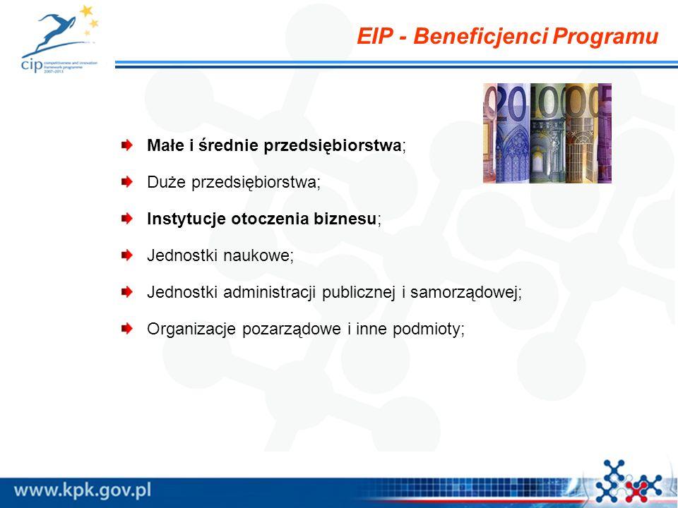 EIP - Beneficjenci Programu Małe i średnie przedsiębiorstwa; Duże przedsiębiorstwa; Instytucje otoczenia biznesu; Jednostki naukowe; Jednostki adminis