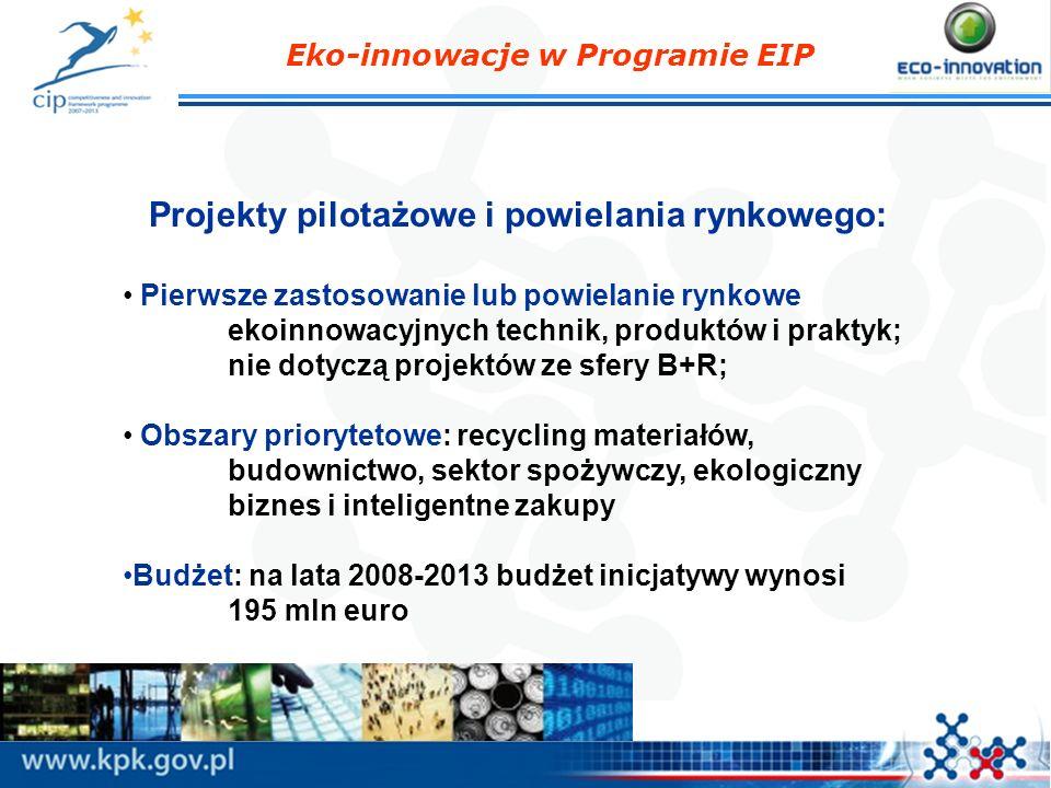 Projekty pilotażowe i powielania rynkowego: Pierwsze zastosowanie lub powielanie rynkowe ekoinnowacyjnych technik, produktów i praktyk; nie dotyczą pr